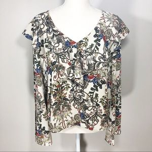 ANTHRO W5 Floral Bell Sleeve Blouse